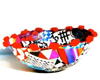 Graphic Pattern Paper Mâché Decorative Bowl with Pom Trim