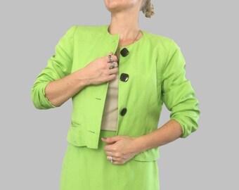 Bill Blass Green Suit/ Lime Green Suit/ Lime Green Pencil Skirt/ Lime Green Jacket Blazer/ Green Suit Set/ Bill Blass Suit/ Linen