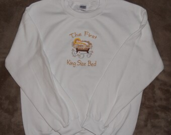 Embroidered Baby Jesus in Manger on Sweatshirt,  First King Size Bed. Perfect for Christmas