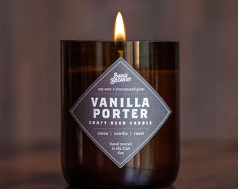 Vanilla Porter Brew Candle - Hand Poured in USA (Soy Wax) - Beer Gift. Guy Gift. Man Cave Approved! Beer Candle. Father's Day Gift.