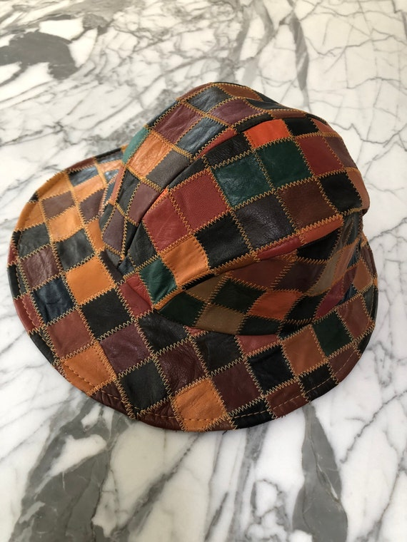 Rare leather patchwork bucket hat 70s style hippie