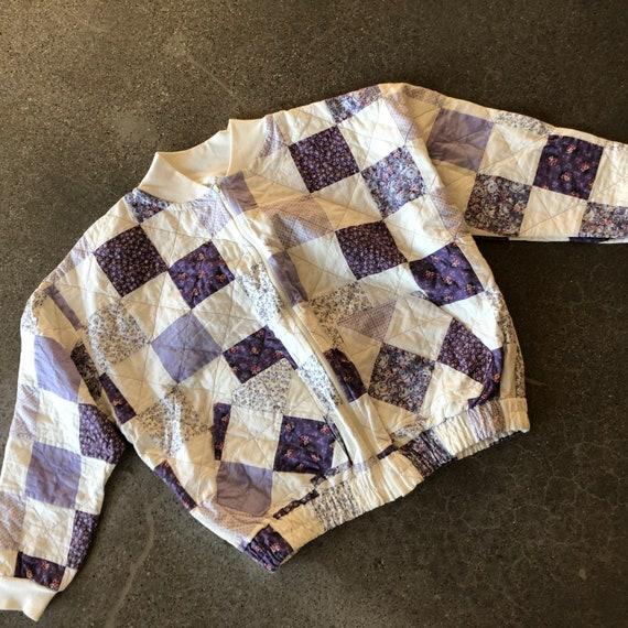 Vintage patchwork jacket 80s bomber style quilt co