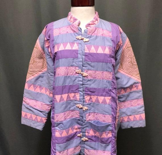 Vintage patchwork quilted jacket. Handmade quilt c