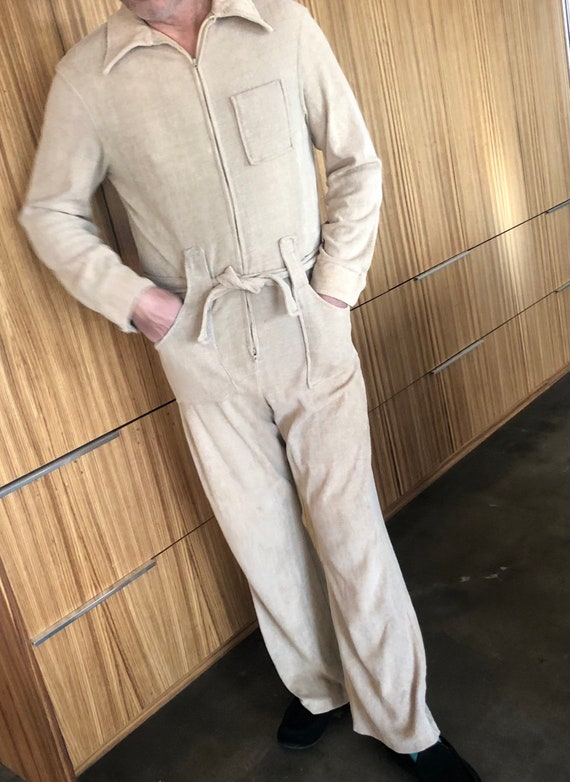 Vintage terry cloth mens 70s jumpsuit 60s overalls
