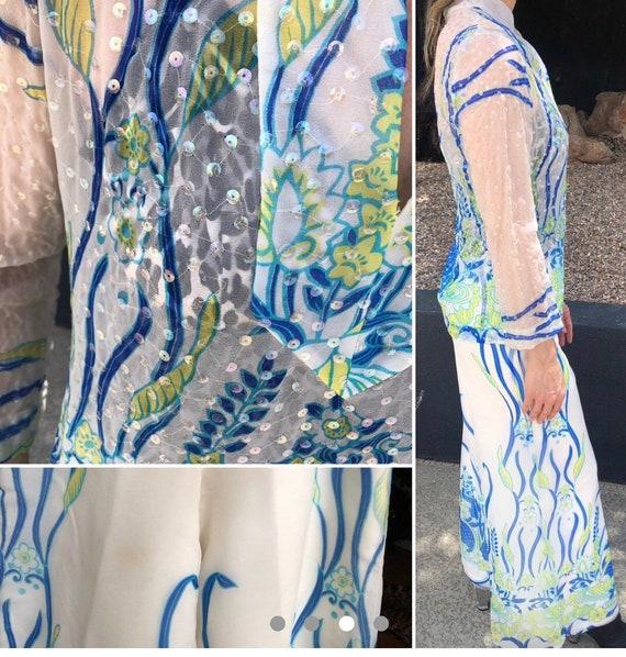 Vintage palazzo pants sets Floral pattern semi sh… - image 2