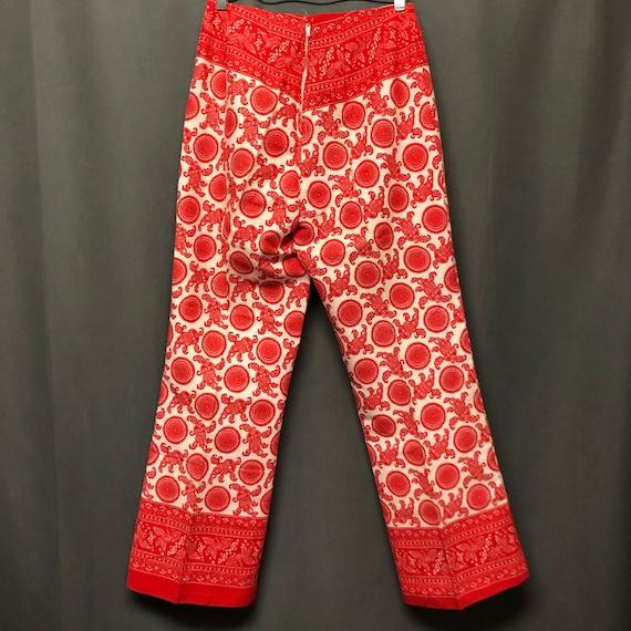 Vintage 60s-70s paisley print pants red mod pants - image 4