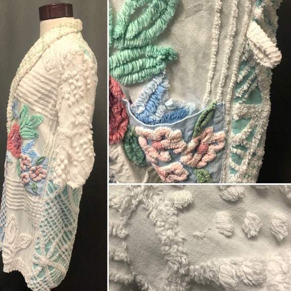 Vintage chenille robe quilted patchwork jacket 19… - image 7