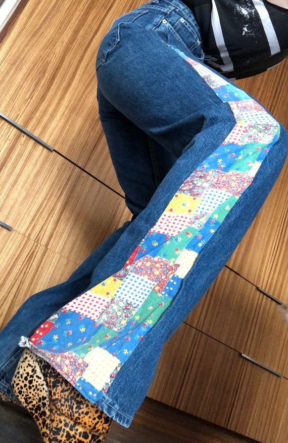 Vintage patchwork jeans flare leg 70s high waisted