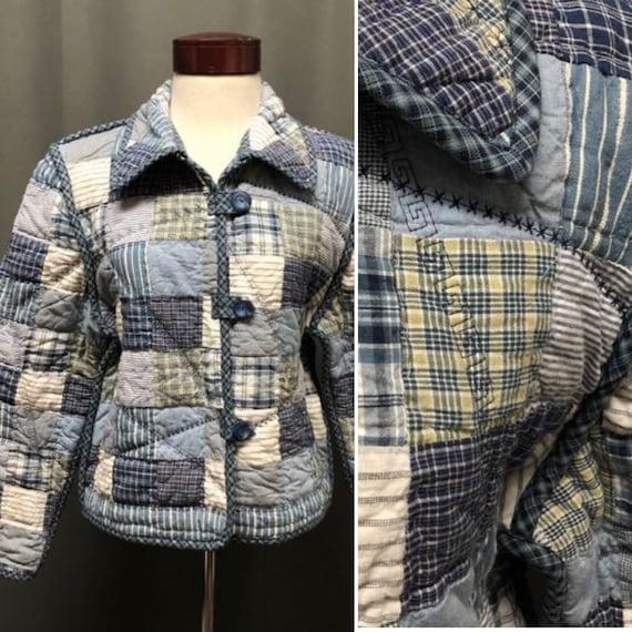 Vintage patchwork jacket quilt coat 70s quilted ja