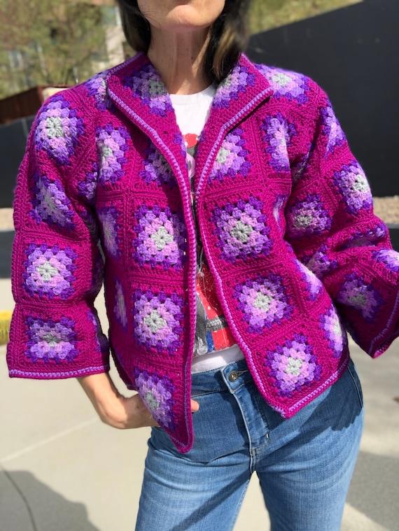 Vintage granny square cardigan handmade knit sweat