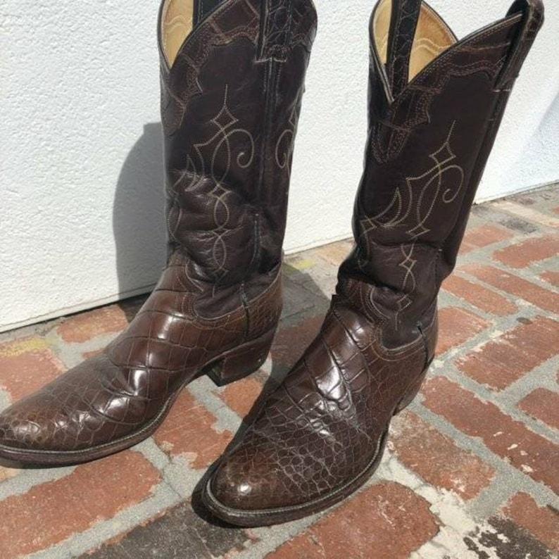 38418b671c6 Vintage Justin alligator skin cowboy boots