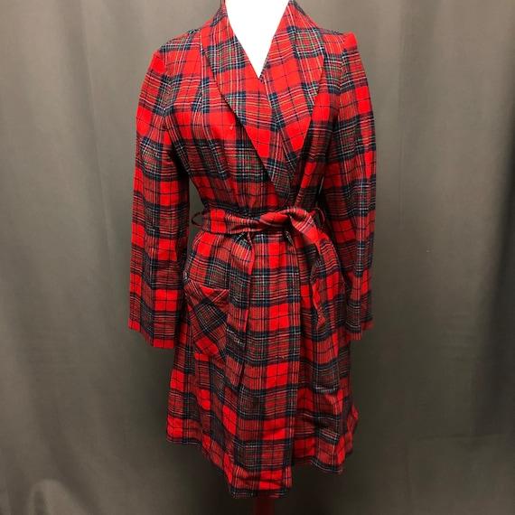 Vintage plaid Pendleton robe 70s tartan pajamas - image 1