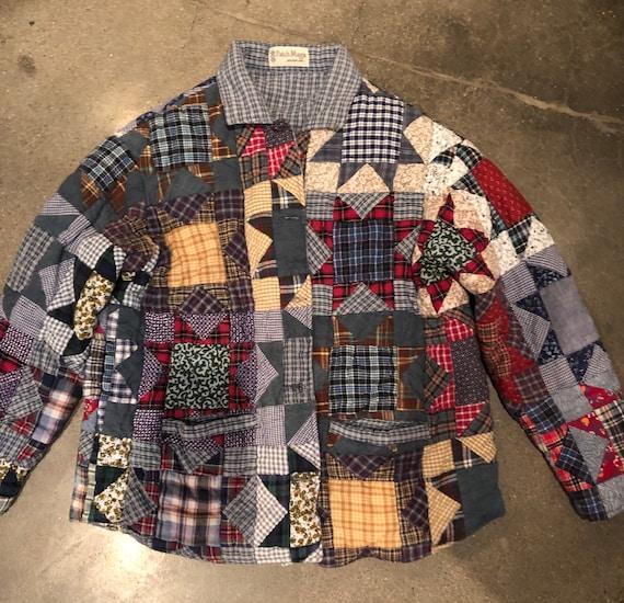 Available! Vintage patchwork quilt coat chore coat