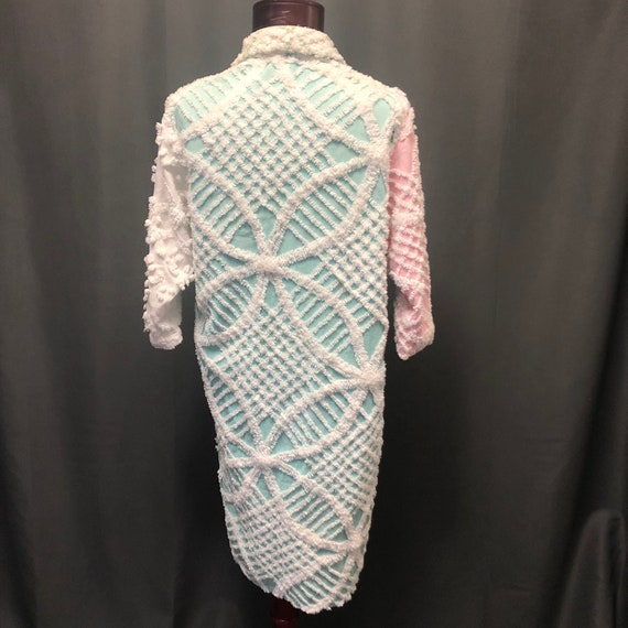 Vintage chenille robe quilted patchwork jacket 19… - image 3