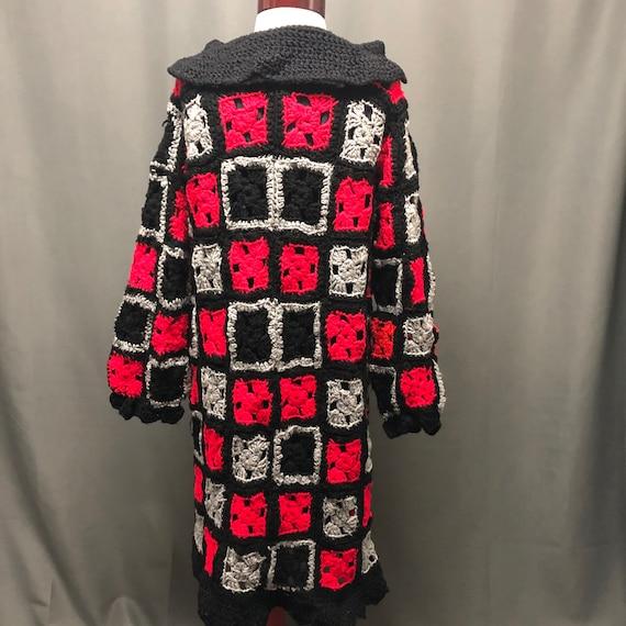 Vintage granny square cardigan handmade 80s knit … - image 3