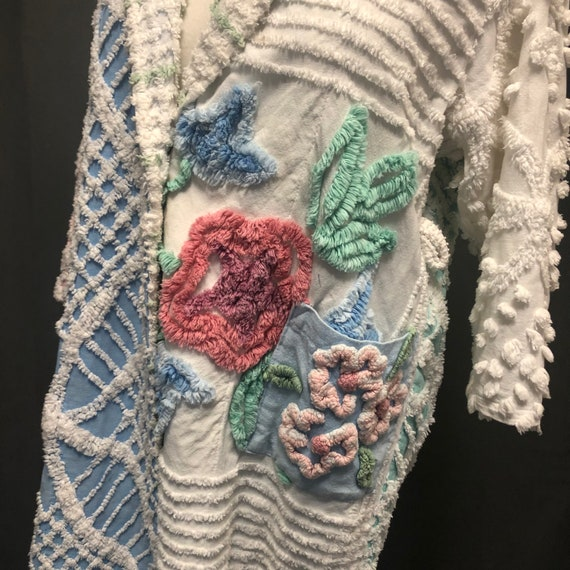 Vintage chenille robe quilted patchwork jacket 19… - image 2