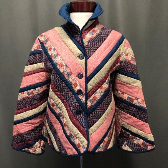 Vintage patchwork quilt coat floral polka dotted q