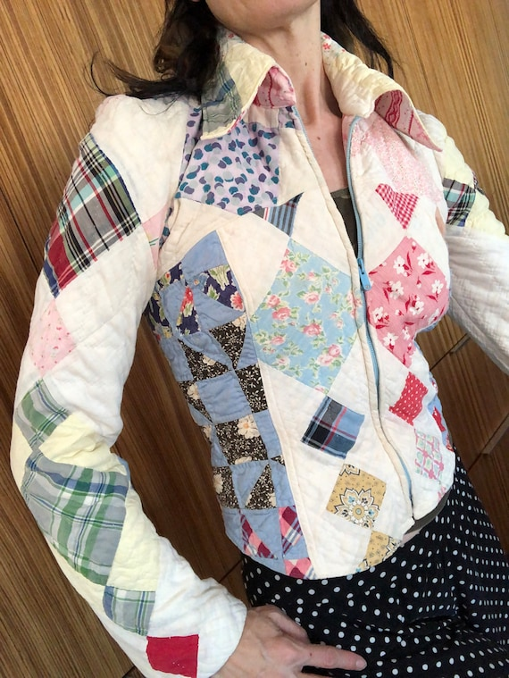 Vintage patchwork jacket 80s bomber style quilted