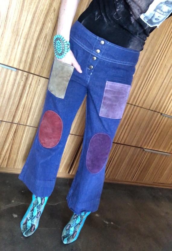 Rare Vintage patchwork pants 70s denim leather pat