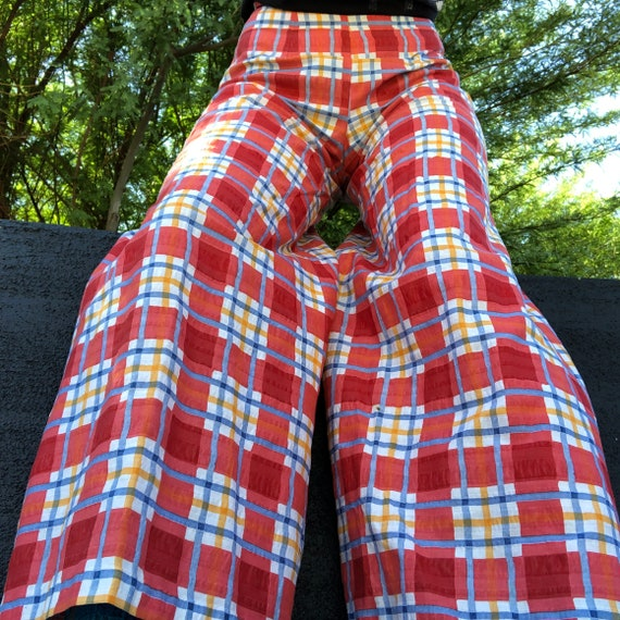 Vintage plaid 70s high waisted wide leg bell botto