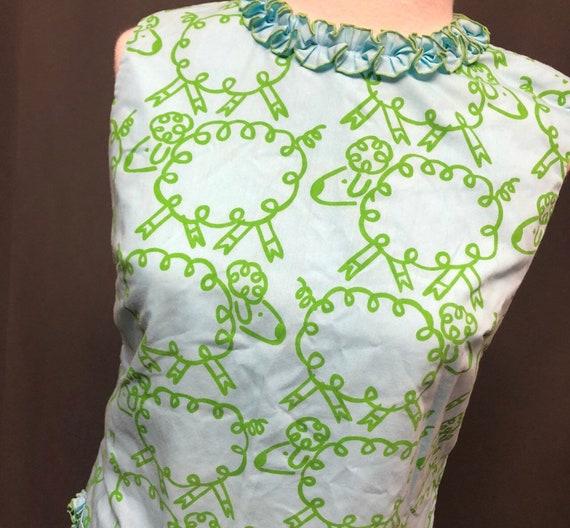 Vintage 60s Vested Gentress printed dress Sheep an