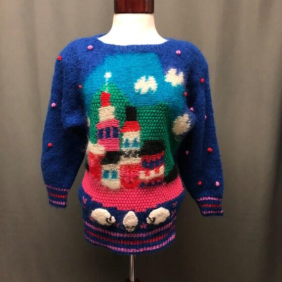 Vintage mohair Diane Freis fuzzy sheep 80s sweater