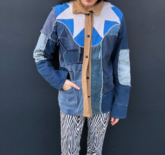 Patchwork denim n quilted jean jacket vintage 70s