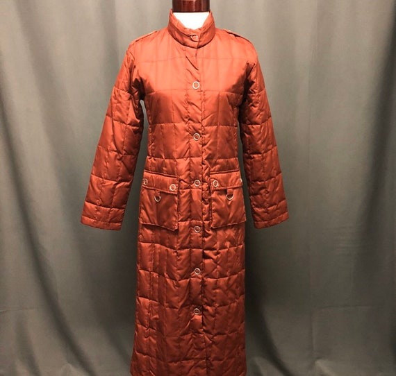 Puffer quilted jacket long 80s style trench coat