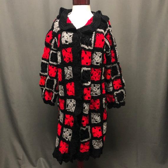 Vintage granny square cardigan handmade 80s knit … - image 1