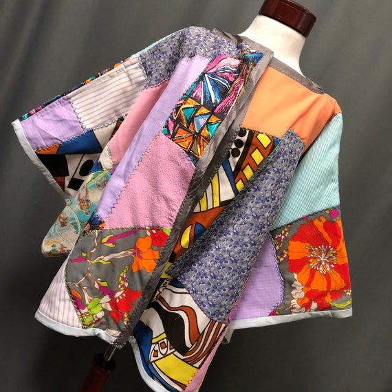 Vintage Patchwork crazy quilt kimono style quilted