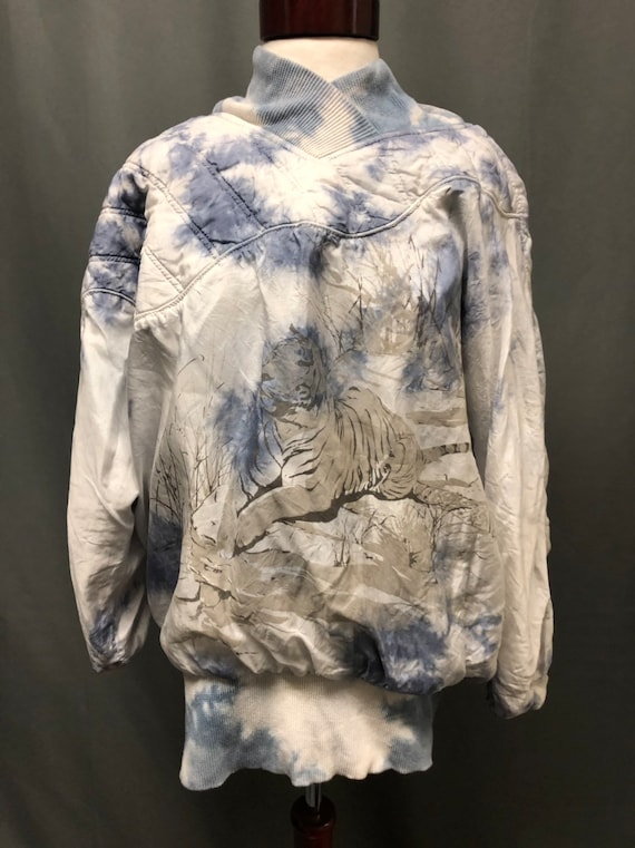 Vintage tie-dye quilted pull over tiger sweatshirt