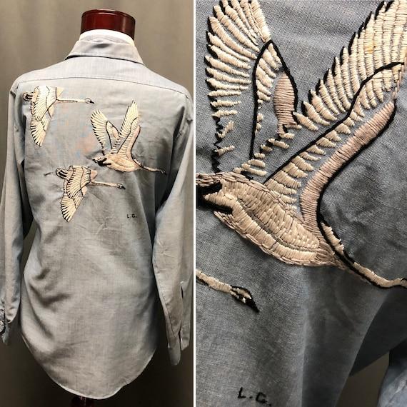 Vintage Big Mac chambray denim embroidered shirt h