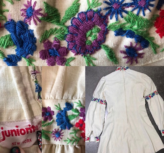 70s hippie vintage bohemian embroidered dress - image 2