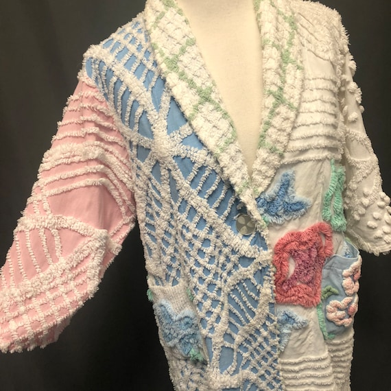 Vintage chenille robe quilted patchwork jacket 195