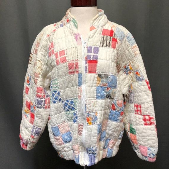 Vintage quilt patchwork jacket 80s bomber style qu
