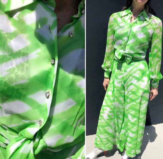 Vintage 70s palazzo pants set by Fred Perlberg gr… - image 3