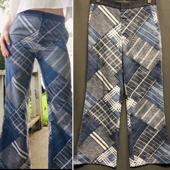 70s Patchwork denim print hippie pants