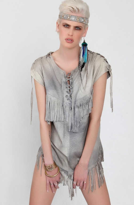 Vintage suede fringe bohemian hippie dress/top 70s