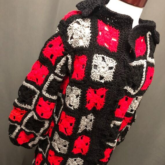 Vintage granny square cardigan handmade 80s knit … - image 2