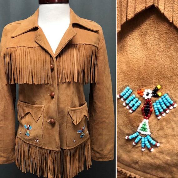 Vintage leather fringe jacket beaded 70s bohemian