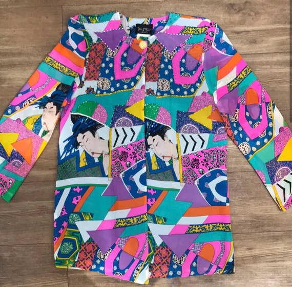 Diane freis silk 80s pop art abstract blazer