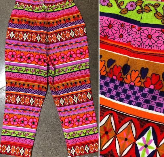 Vintage 60s mod printed pants 70s Flower power pop