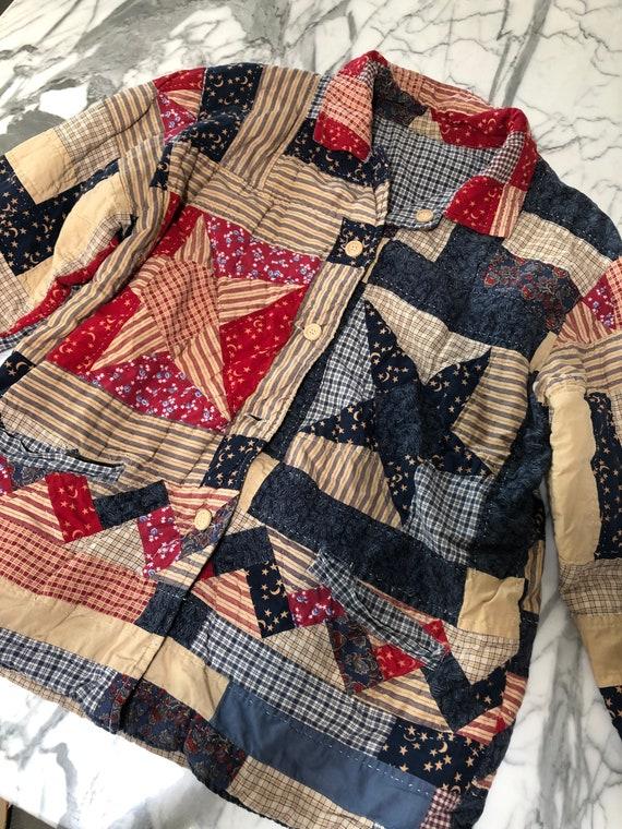 Vintage Patchwork quilt jacket star plaid pattern