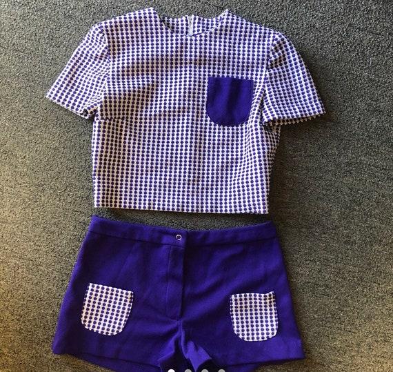 Vintage mod 60s 2 piece shorts n top