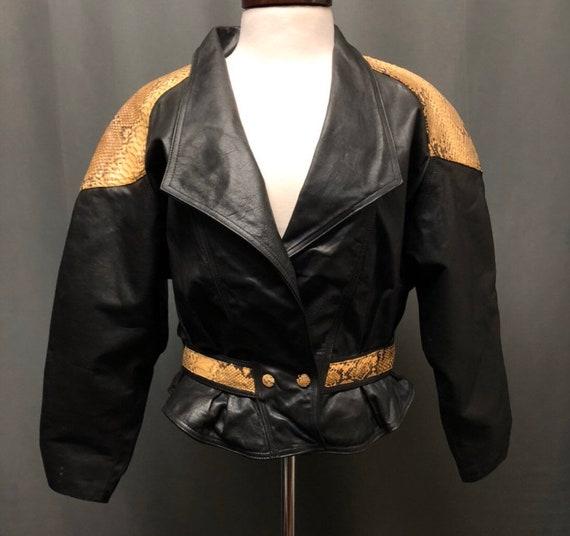Vintage leather and snakeskin jacket 80s peplum st
