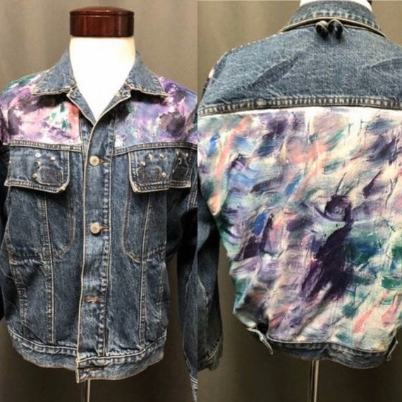 Vintage hand painted denim jacket 80s/90s