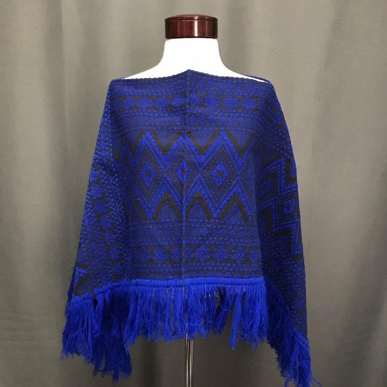 Vintage fringe Aztec print sweater poncho 70s bohemian style southwest western blanket cape
