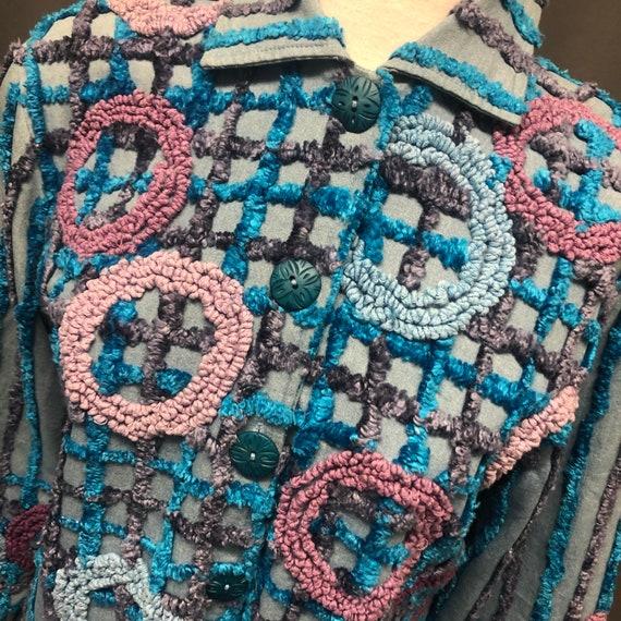 Vintage chenille and chambray denim blazer 80s jac