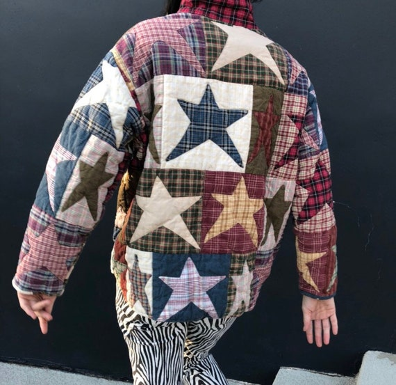 Vintage quilt patchwork jacket star plaid checkere