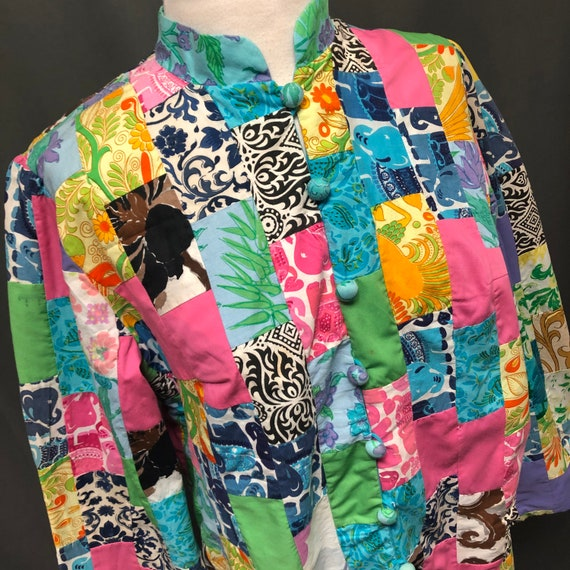 Vintage quilt patchwork jacket 70s quilted coat bl